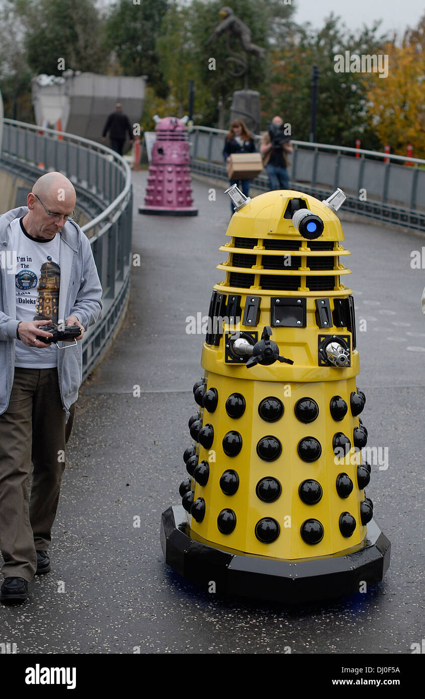 Daleks arriving at the 'Science of the Timelords' event in The National Space Centre at Leicester to celebrate the Stock Photo