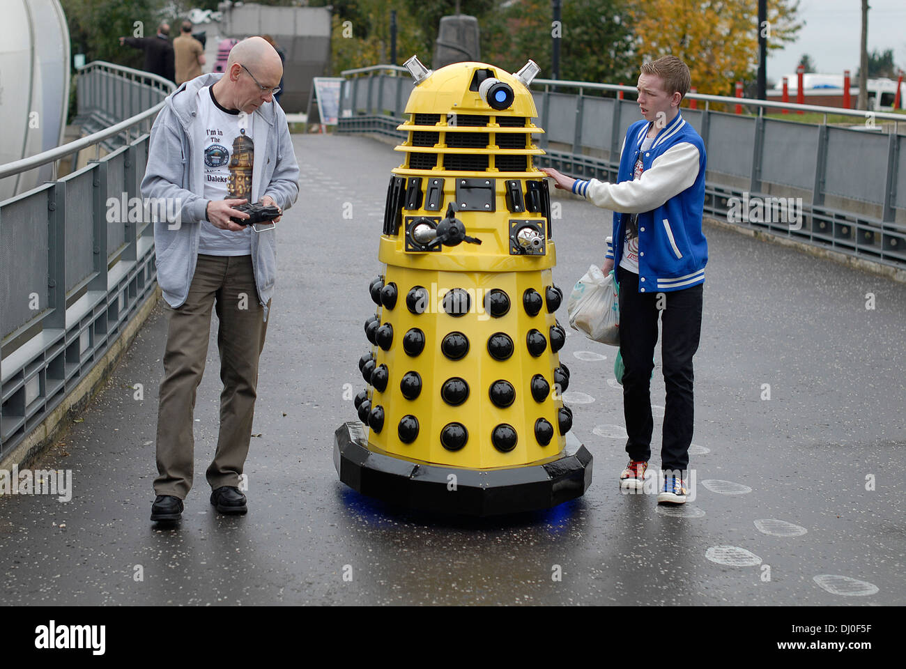 Daleks arriving at the 'Science of the Timelords' event in The National Space Centre at Leicester to celebrate the 50th Anniversary of Dr Who - Stock Image