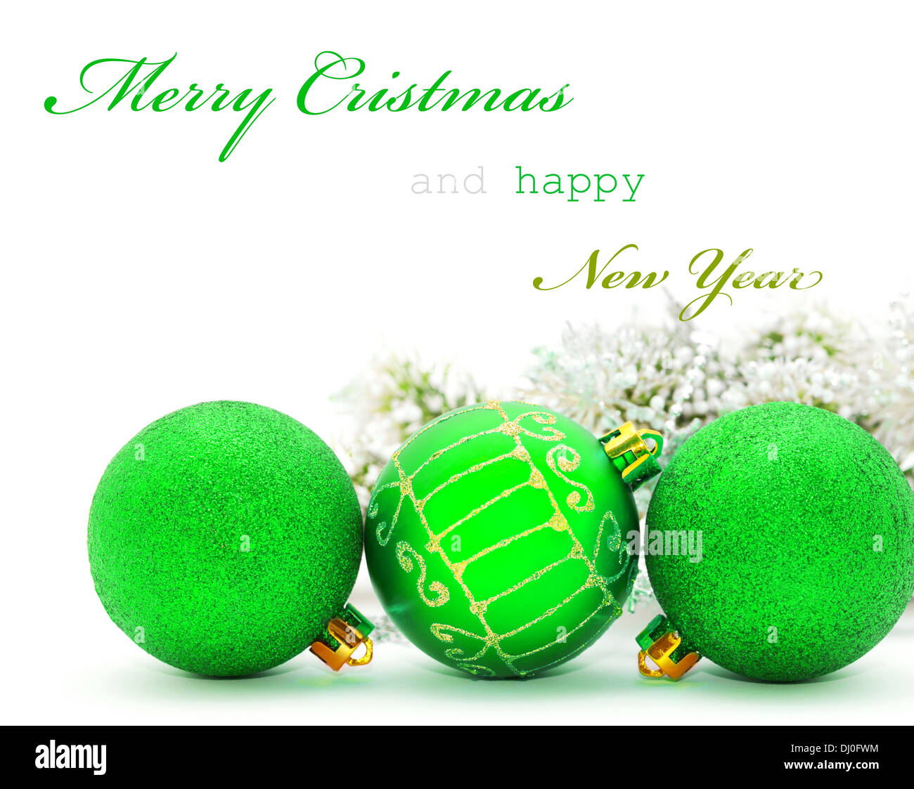 Christmas greeting card sample text stock photos christmas christmas greeting card with green baubles and sample text stock image m4hsunfo