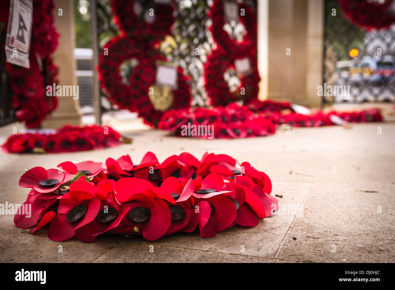 Wreaths at the Memorial Gates - Hyde Park Corner, also known as the Commonwealth Memorial Gates. - Stock Image