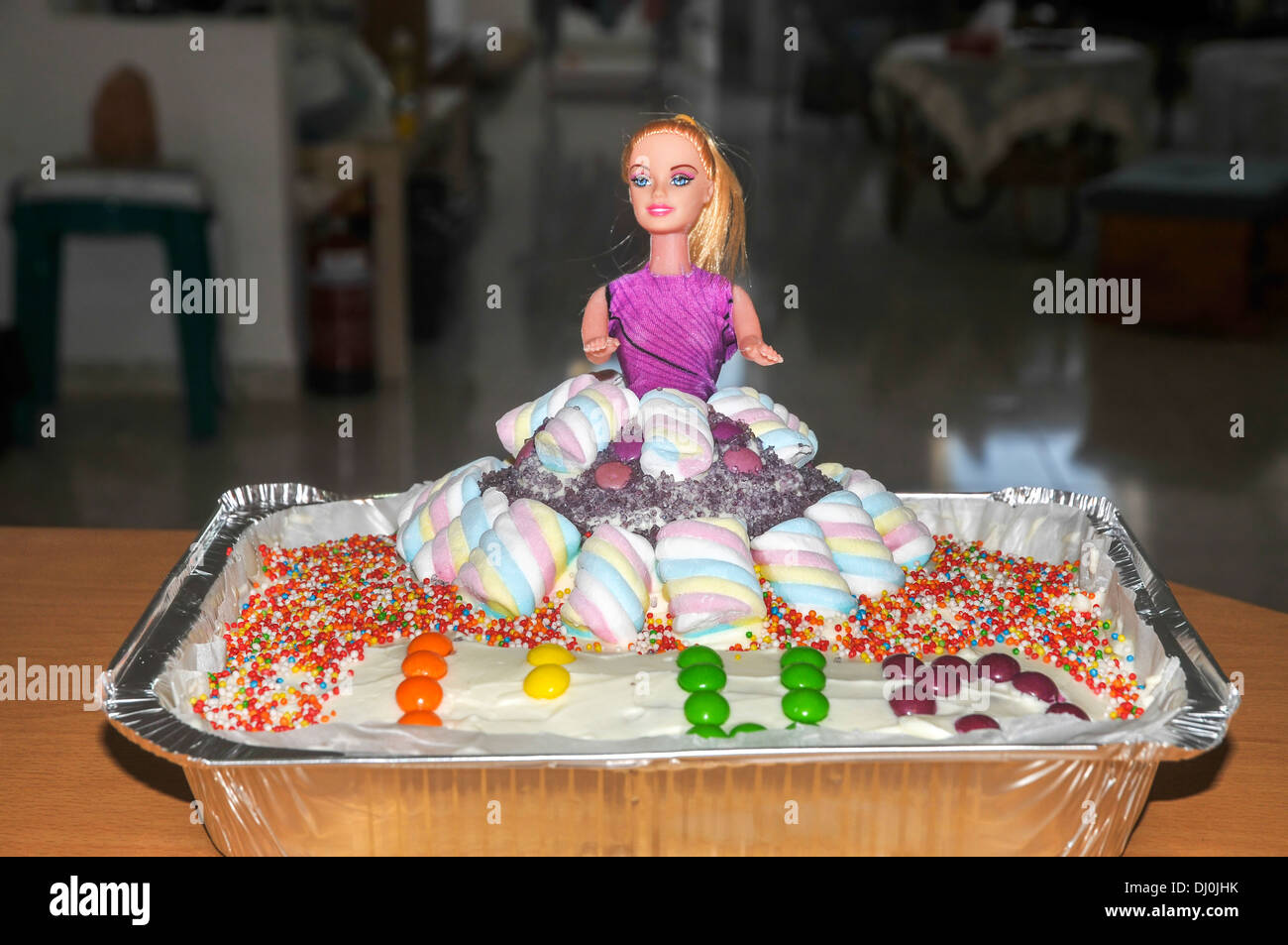 Enjoyable Barbie Doll Birthday Cake Decorated With Smarties And Hundreds And Funny Birthday Cards Online Alyptdamsfinfo