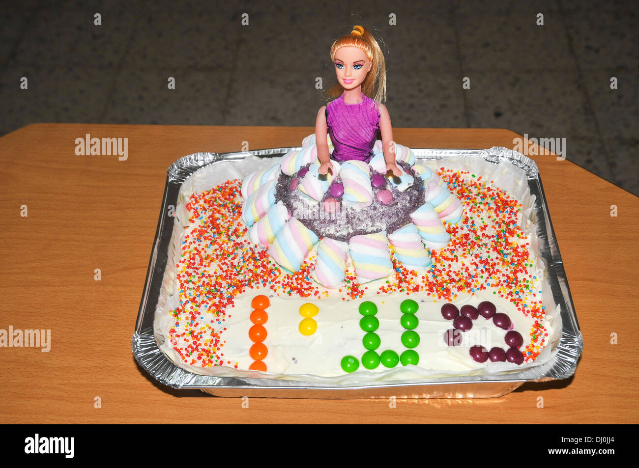 Remarkable Barbie Doll Birthday Cake Decorated With Smarties And Hundreds And Birthday Cards Printable Opercafe Filternl