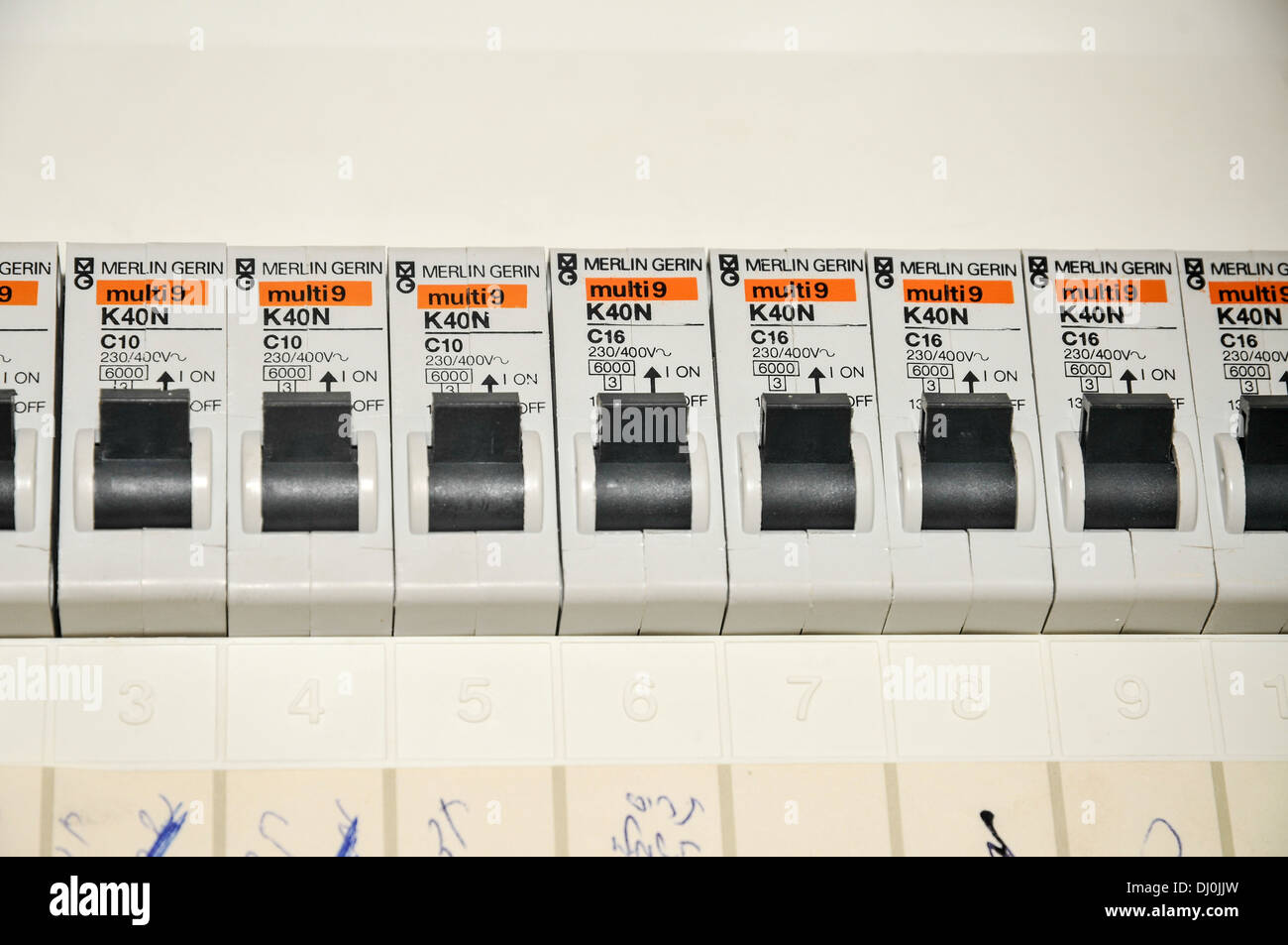 Domestic Fuse Box Stock Photos Images Alamy How Do I Change A In Breaker Close Up With Trip Switches Circuit Breakers Image