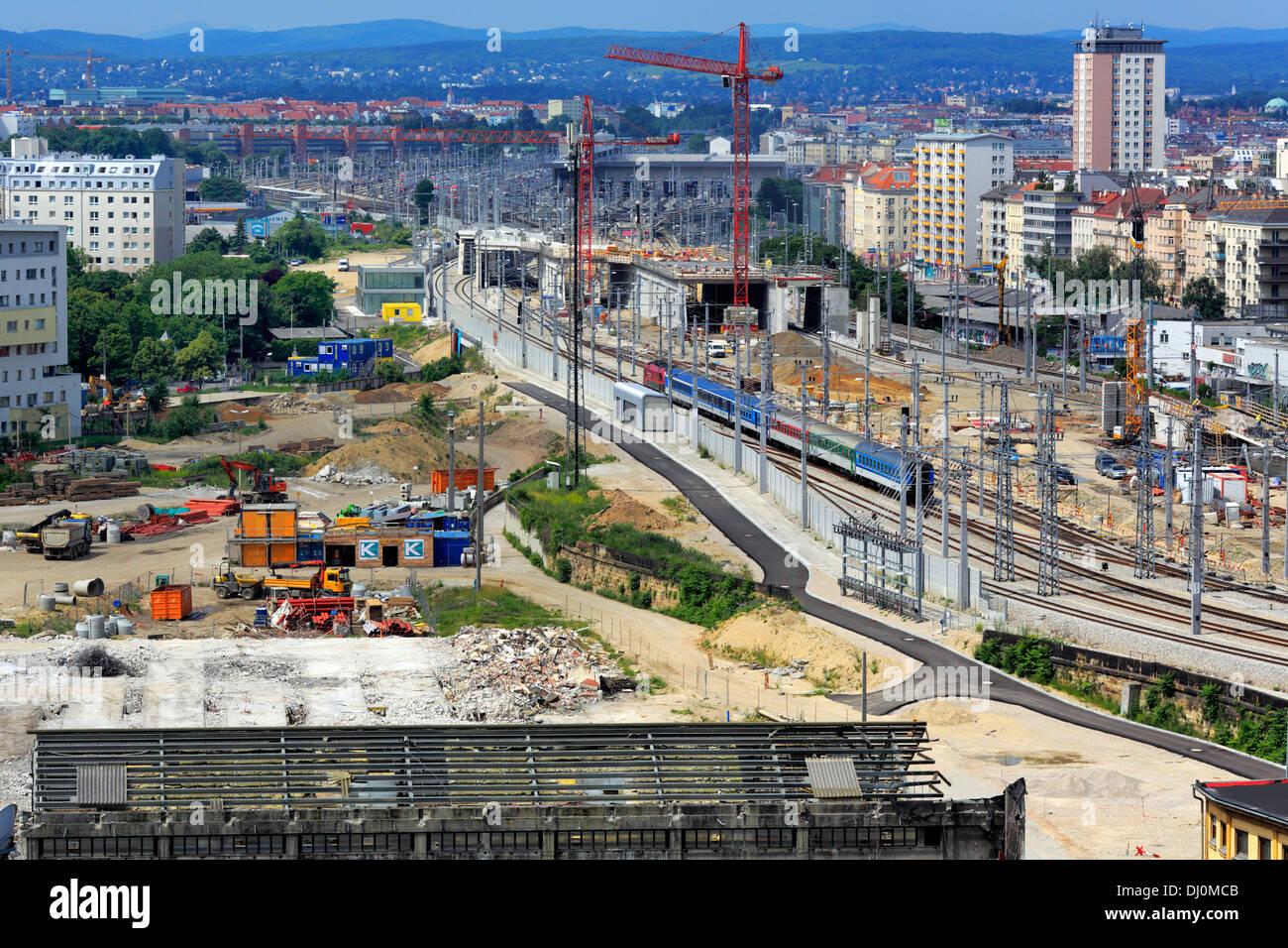 Construction of Wien Hauptbahnhof (Central train station), Vienna, Austria - Stock Image