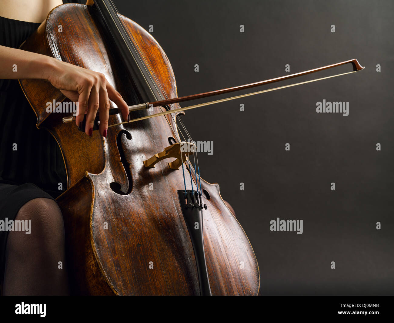 Photo of an unrecognizable female musician playing a cello. - Stock Image