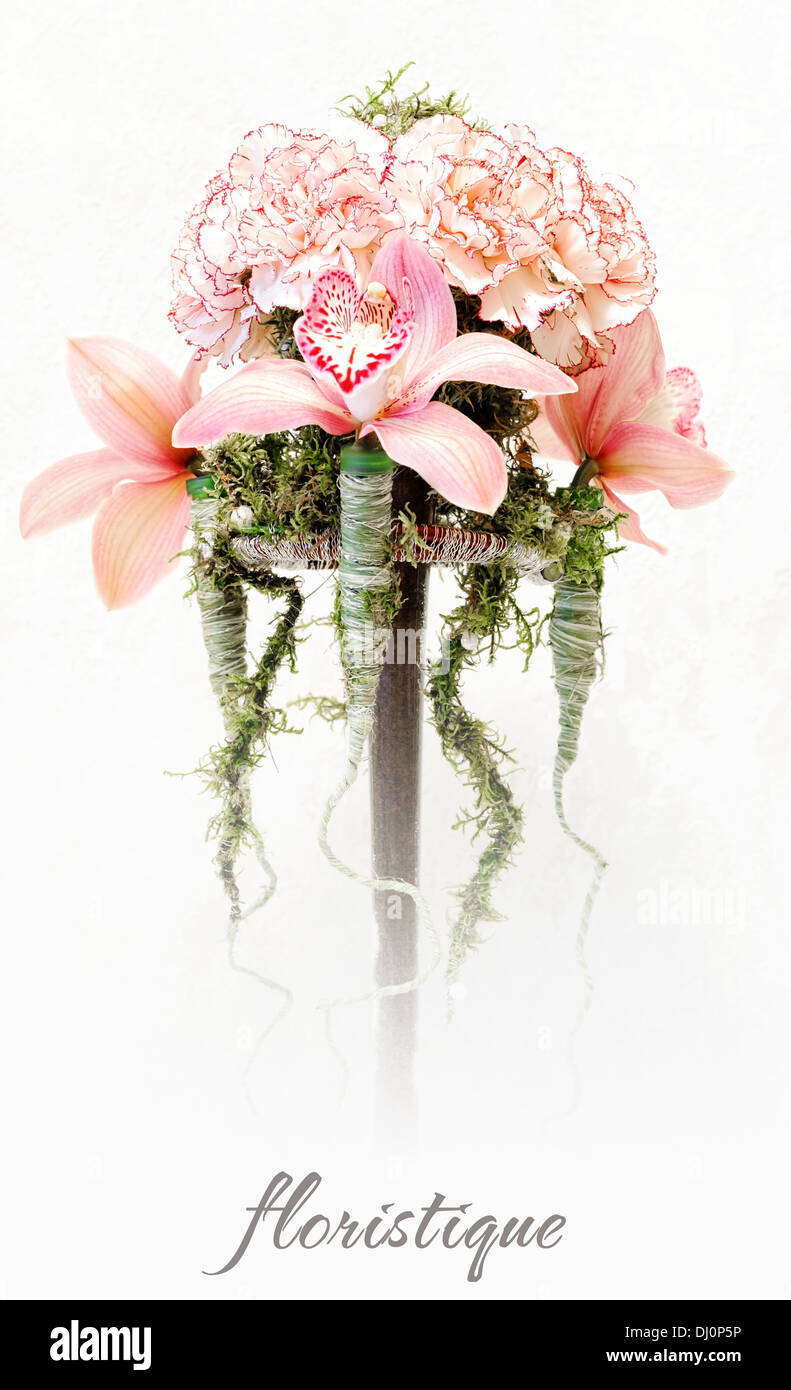 Floristique. Floristic composition from pink carnations and orchids Stock Photo