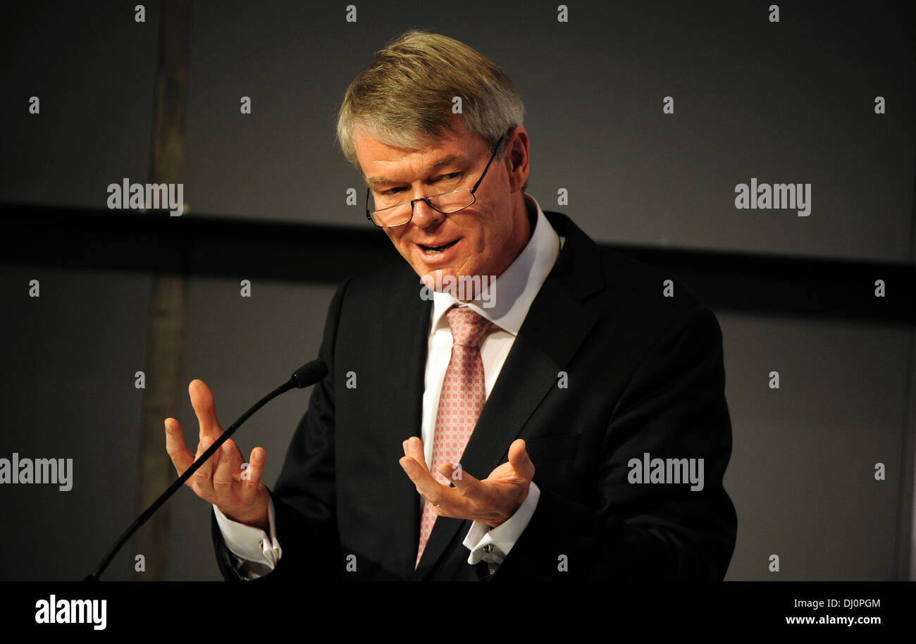 Frankfurt Main, Germany. 18th Nov, 2013. CEO of DZ Bank, Wolfgang Kirsch, speaks at an event of the 'Euro Finance Stock Photo