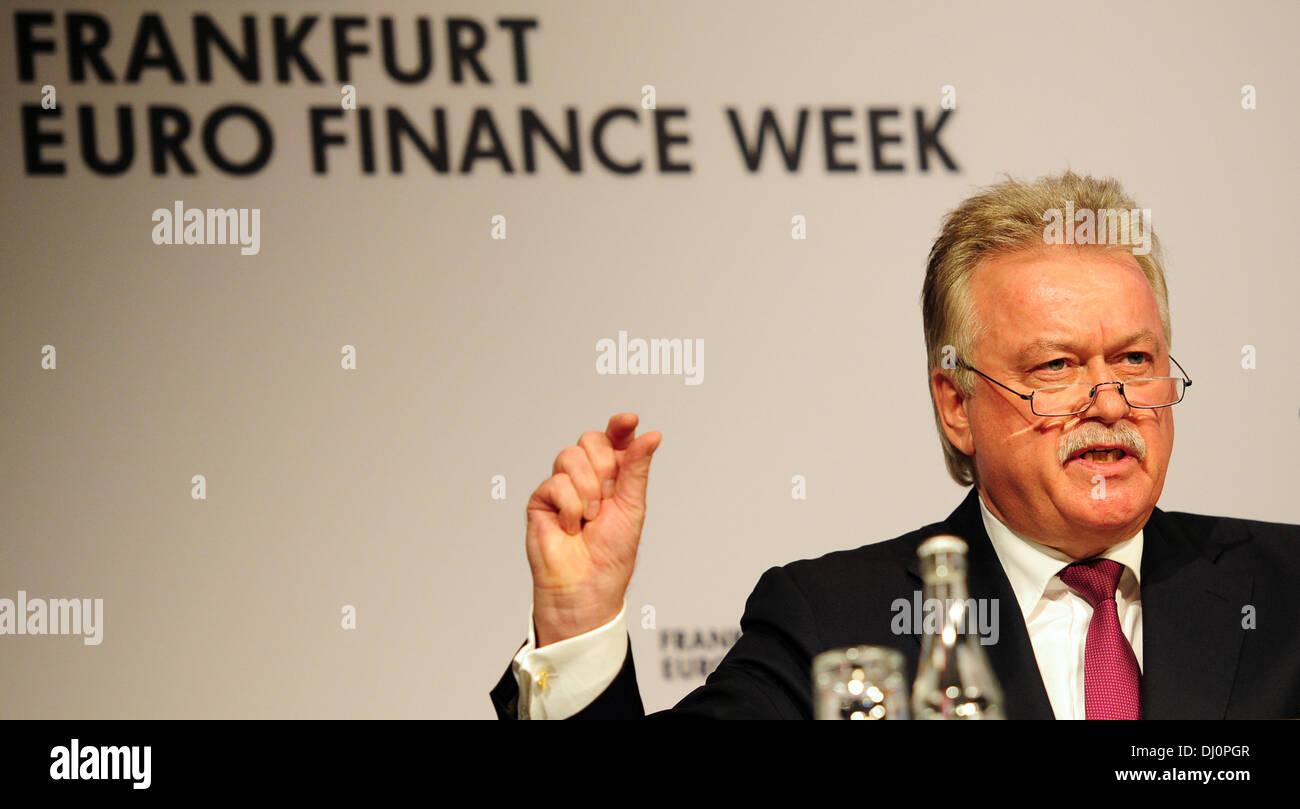 Frankfurt Main, Germany. 18th Nov, 2013. CEO of Helaba Landesbank Hessen-Thüringen, Hans-Dieter Brenner, speaks Stock Photo