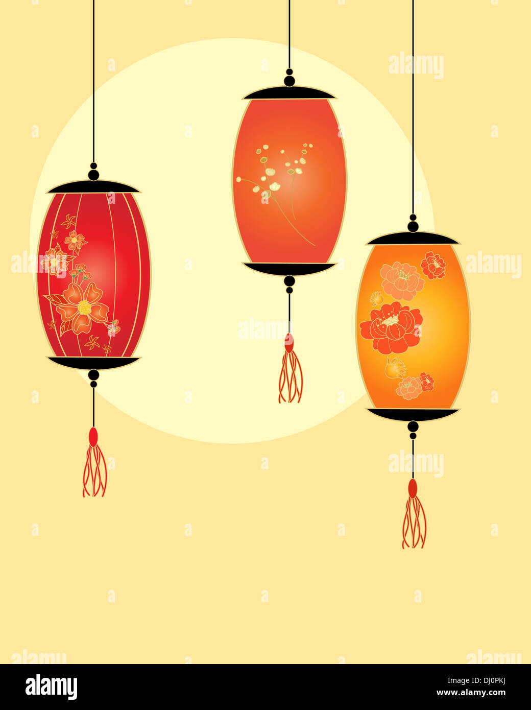 an illustration of a simple chinese lantern design with oriental