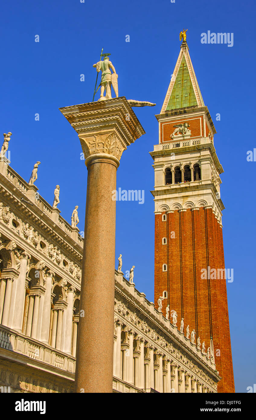 The Piazzetta and the Campanile in St. Mark's Square, Venice, Italy. Stock Photo