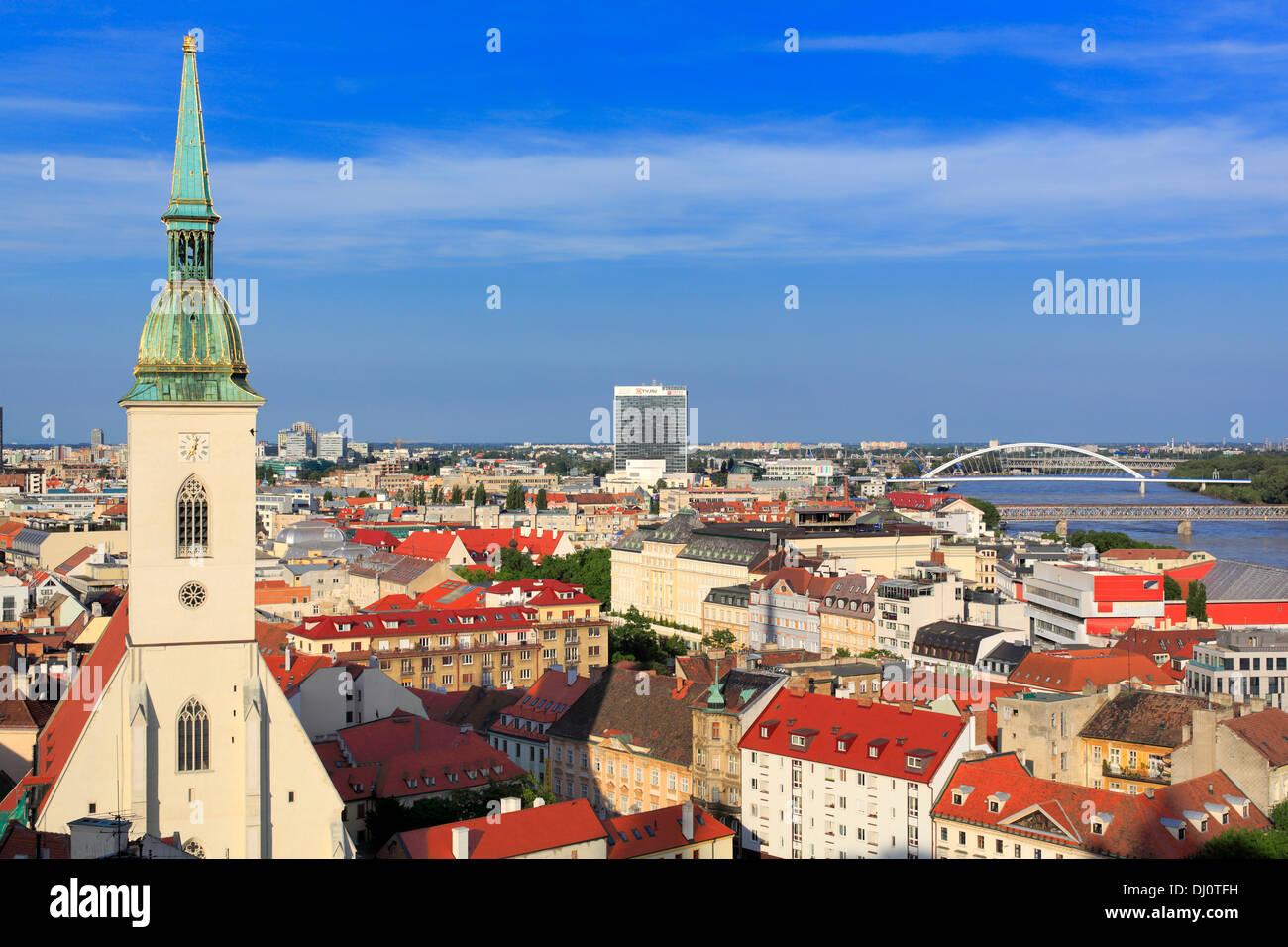 Cityscape from Bratislava castle, Bratislava, Slovakia - Stock Image