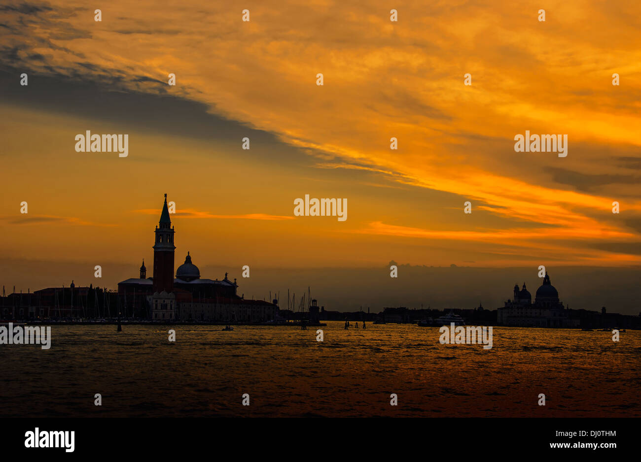 Sunset over St. Giorgio Island and Church, Venice, Italy. Stock Photo