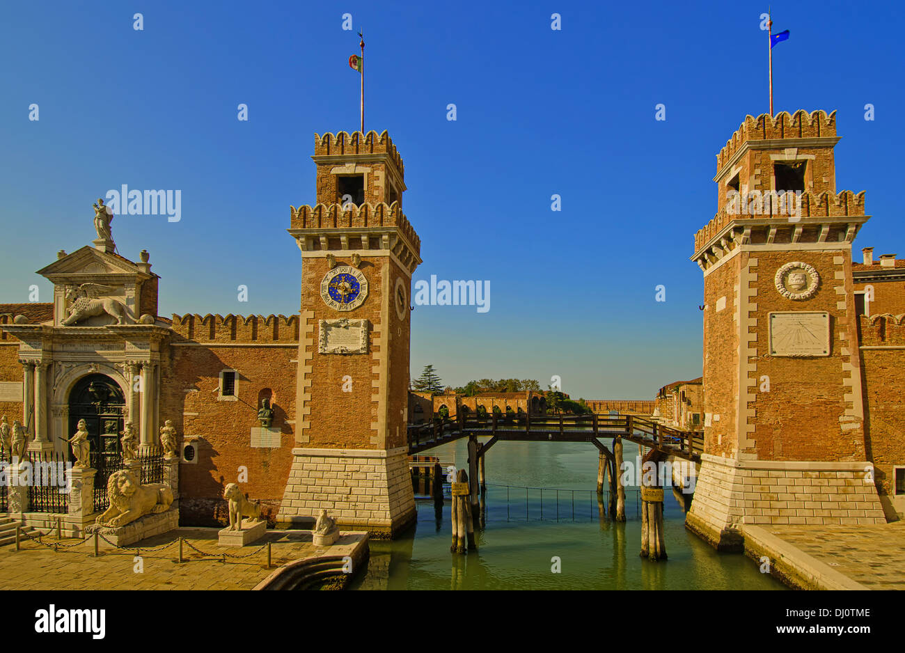 Gates and entrance  to the Arsenale in Venice, Italy. - Stock Image