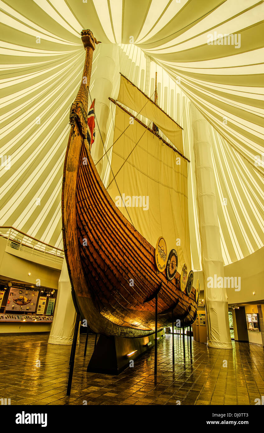 Replica of the Gokstad Viking Ship which was sailed from Duluth to Norway in June 1982. Stock Photo