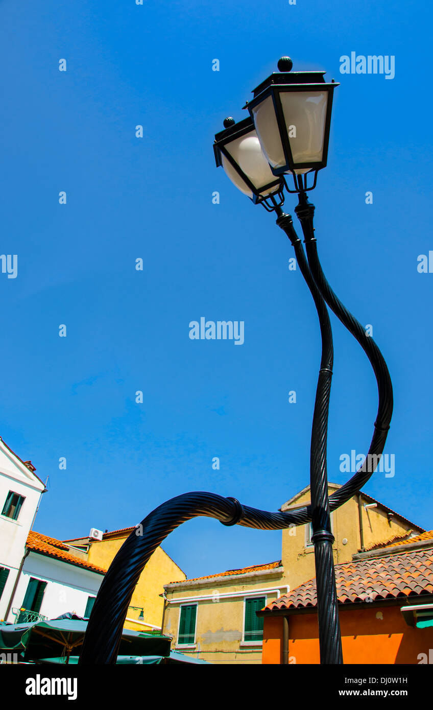 Bienniale 2013 lamp posts on the Island of Murano, Venice, Italy. - Stock Image