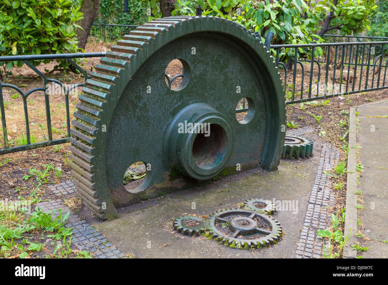 Display of gears from the windmill at Green's Mill, Sneinton, Nottingham, England, UK - Stock Image
