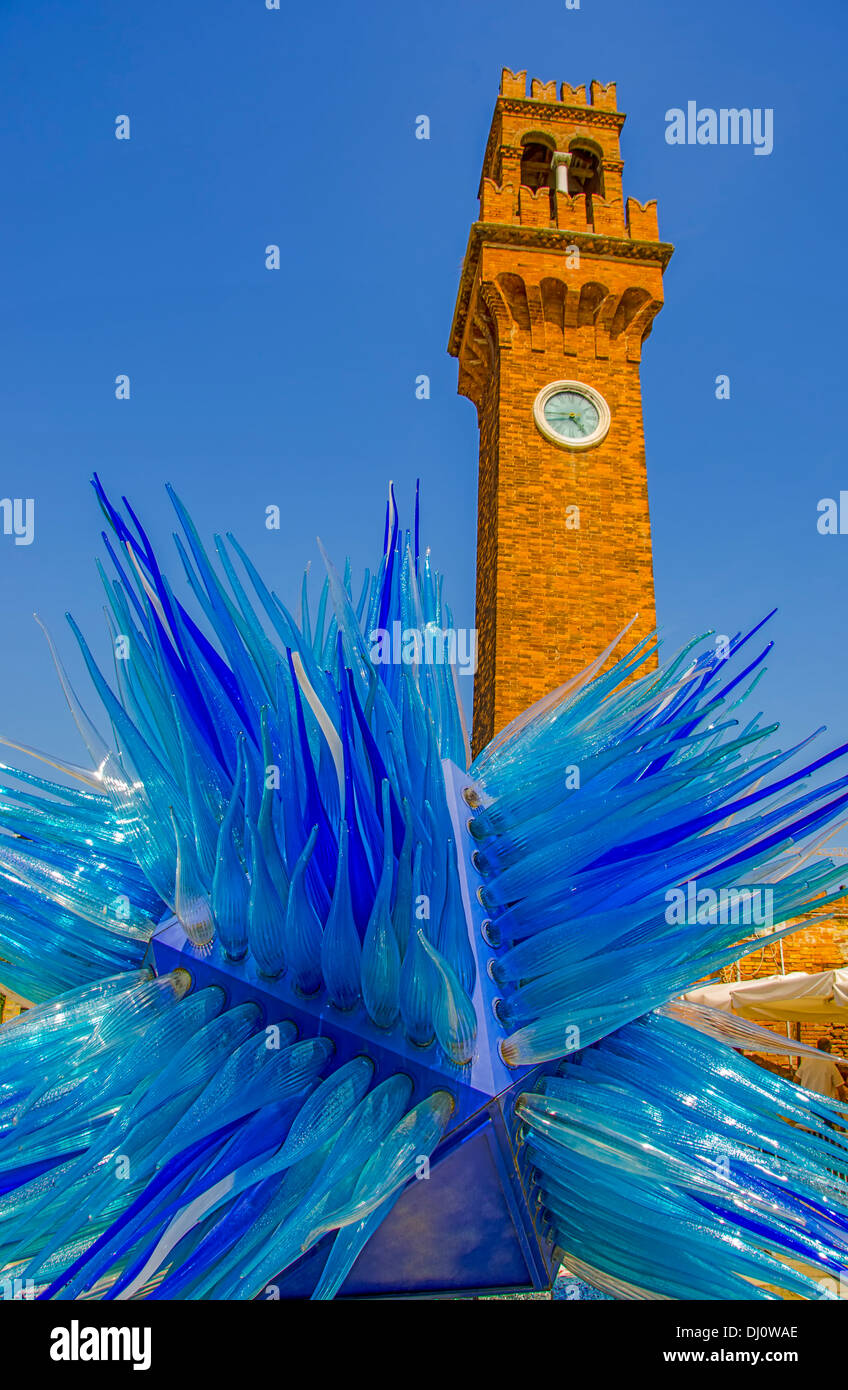 Glass exhibit on the Island of Murano. Part of the Biennale 2013 Festival. - Stock Image