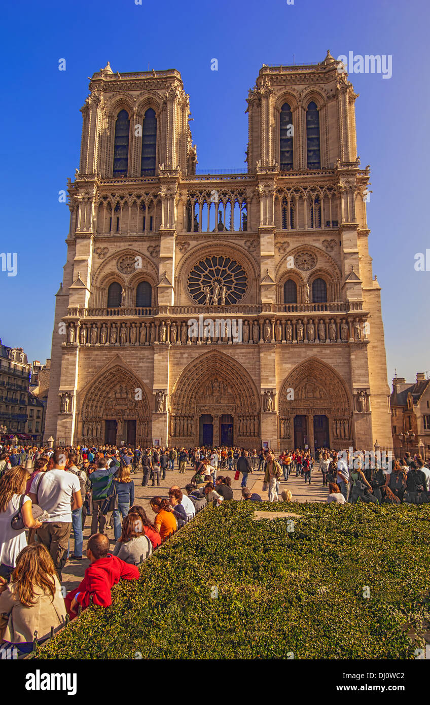 Notre Dame Cathedral in the city of Paris, France. Stock Photo