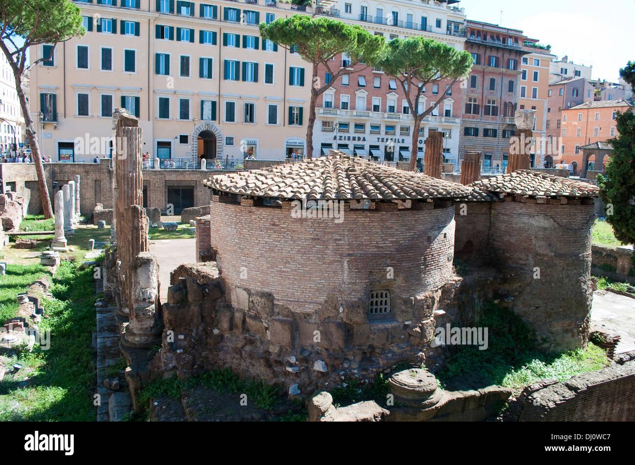 Remains of Republican Roman temples and Pompey's Theatre, Largo di Torre Argentina, Campus Martius, Rome, Italy - Stock Image