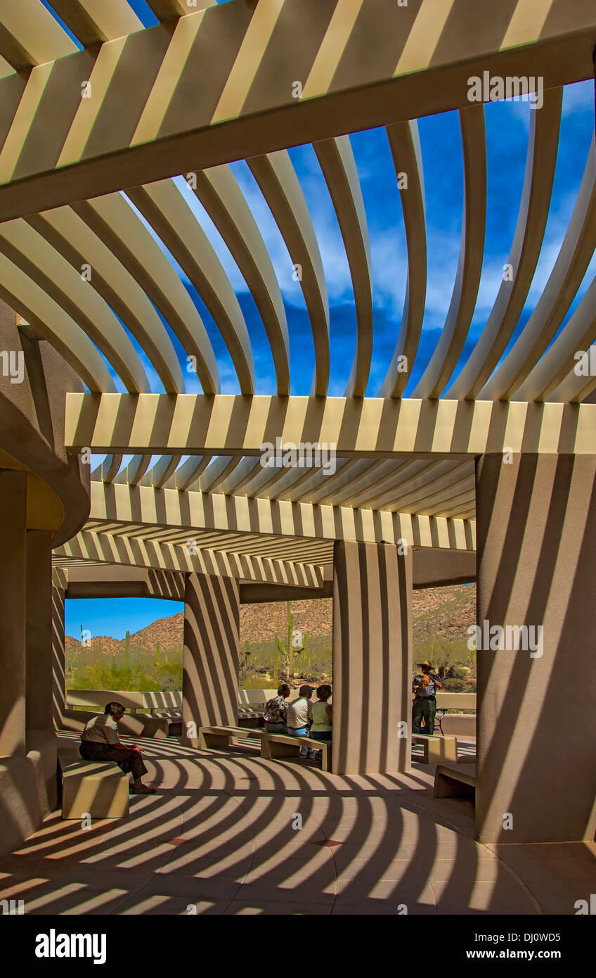 The Visitors' Center at Saguaro National Park near Tucson Arizona. A Park Ranger is giving information to visitors. Stock Photo
