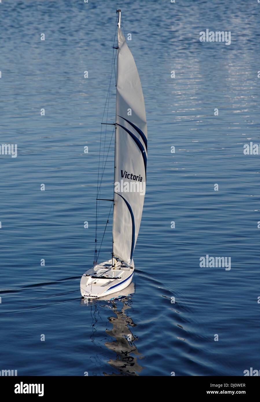 Radio Controlled model yacht - Stock Image