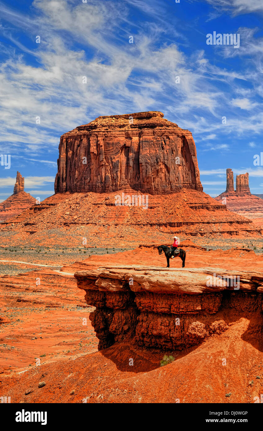 Navajo Indian at John Ford Point in Monument Valley, Utah, USA Stock Photo