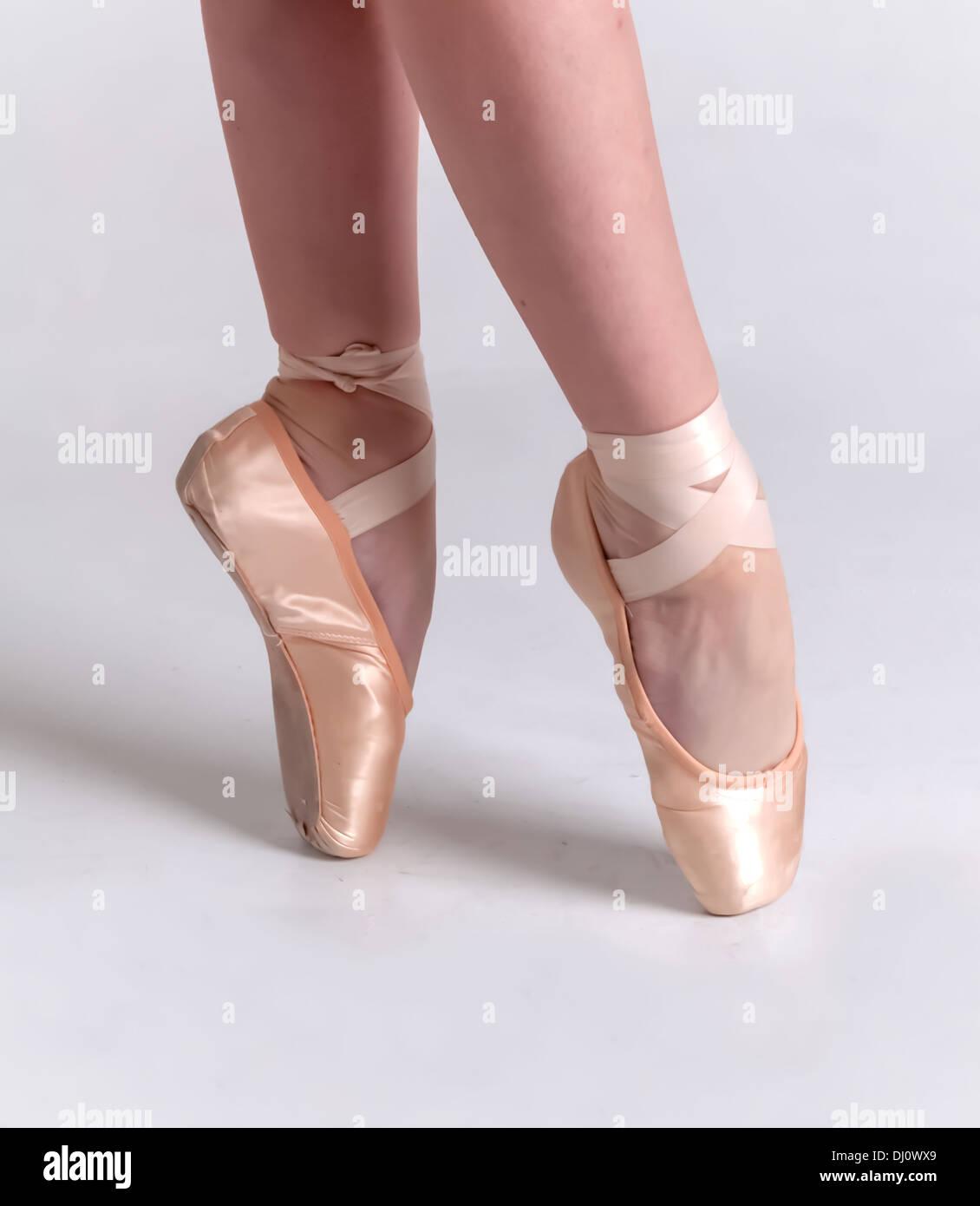 Ballerina Performing Pointe Work - Stock Image