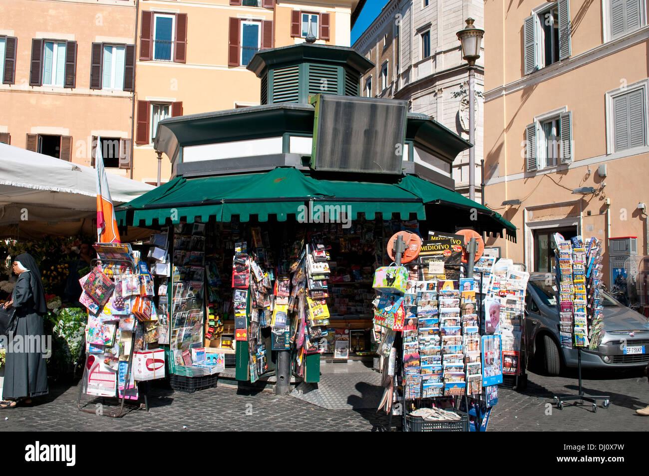 Postcards stall, Campo de' Fiori market, Rome, Italy - Stock Image