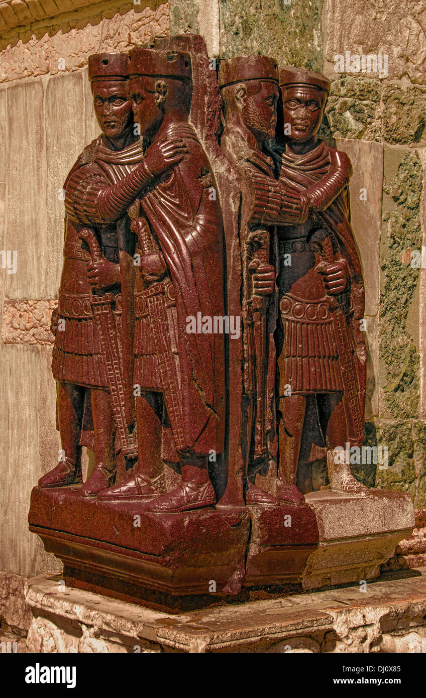 Porphyry sculpture known as The Tetriarchs, a fourth century work from Egypt, now at the foot of the Basilica of Stock Photo