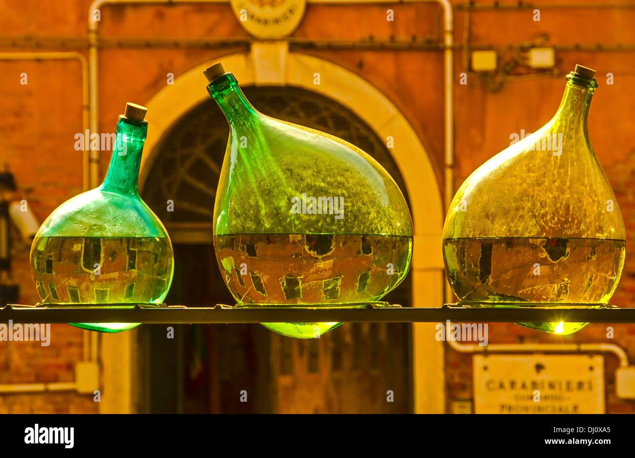 Arrangement of old bottles made by the New Zealand artist Bill Culbert  at the Church of Santa Maria della Pieta, Stock Photo