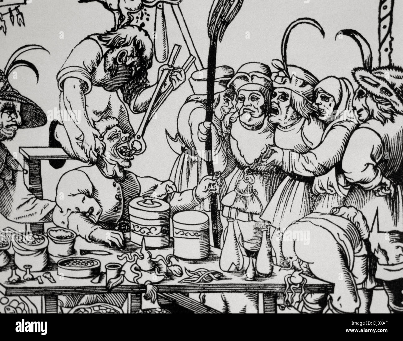 History of medicine. Dentist (barbers or general physicians). Middle Ages. Satire. Engraving. - Stock Image