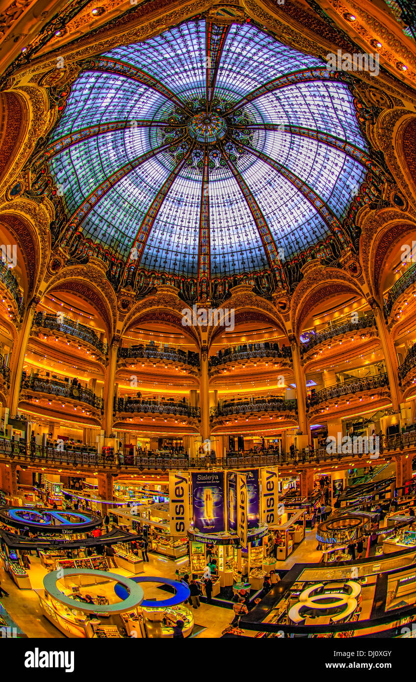Arguably one of the world's most elegant department stores, Galeries  Lafayette in Paris, France. Stock Photo