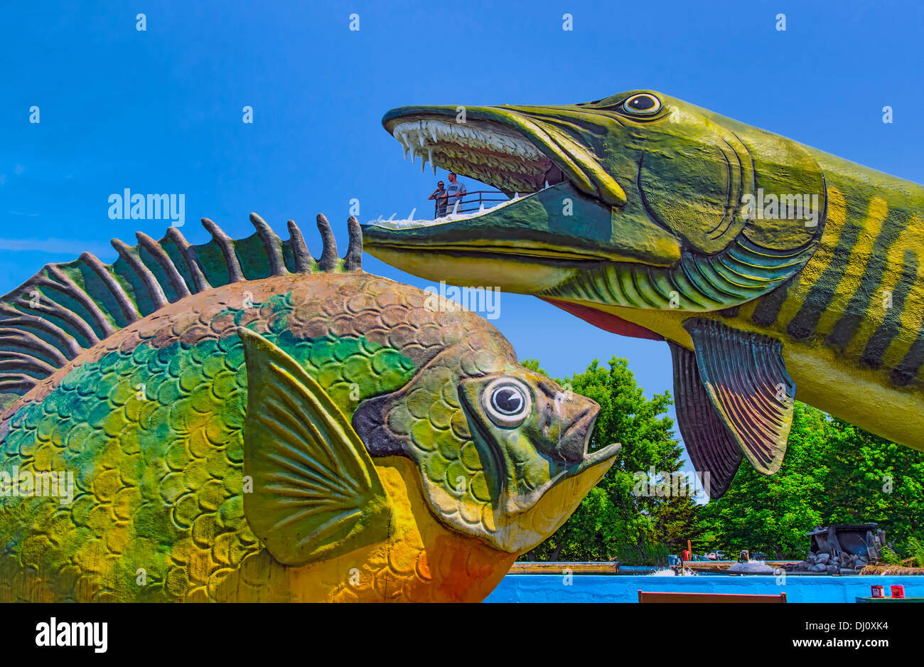 Fish sculptures at The American National Freshwater Fishing Hall of Fame at Hayward, Wisconsin, USA. Stock Photo