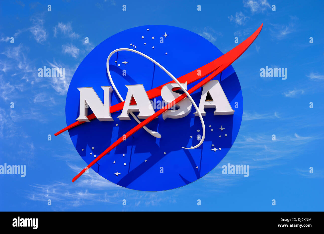 The insignia of NASA at the Space Center in Florida. USA. National Aeronautics and Space Administration. Stock Photo
