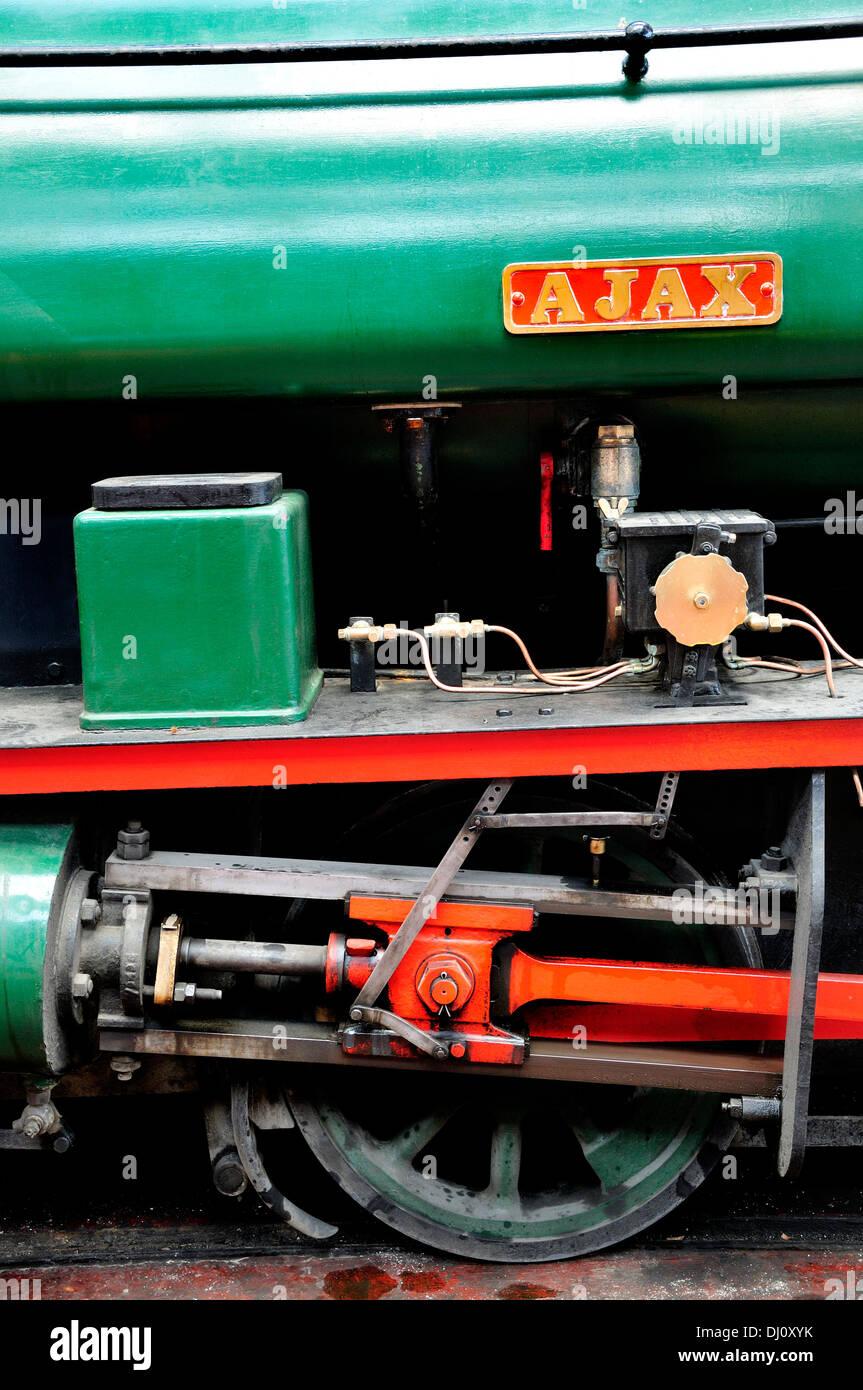 Chatham, Kent, England. Chatham Historic Dockyard. Steam locomotive - RSH 7042/1941, 0-4-0SH, 'AJAX'. Detail - Stock Image