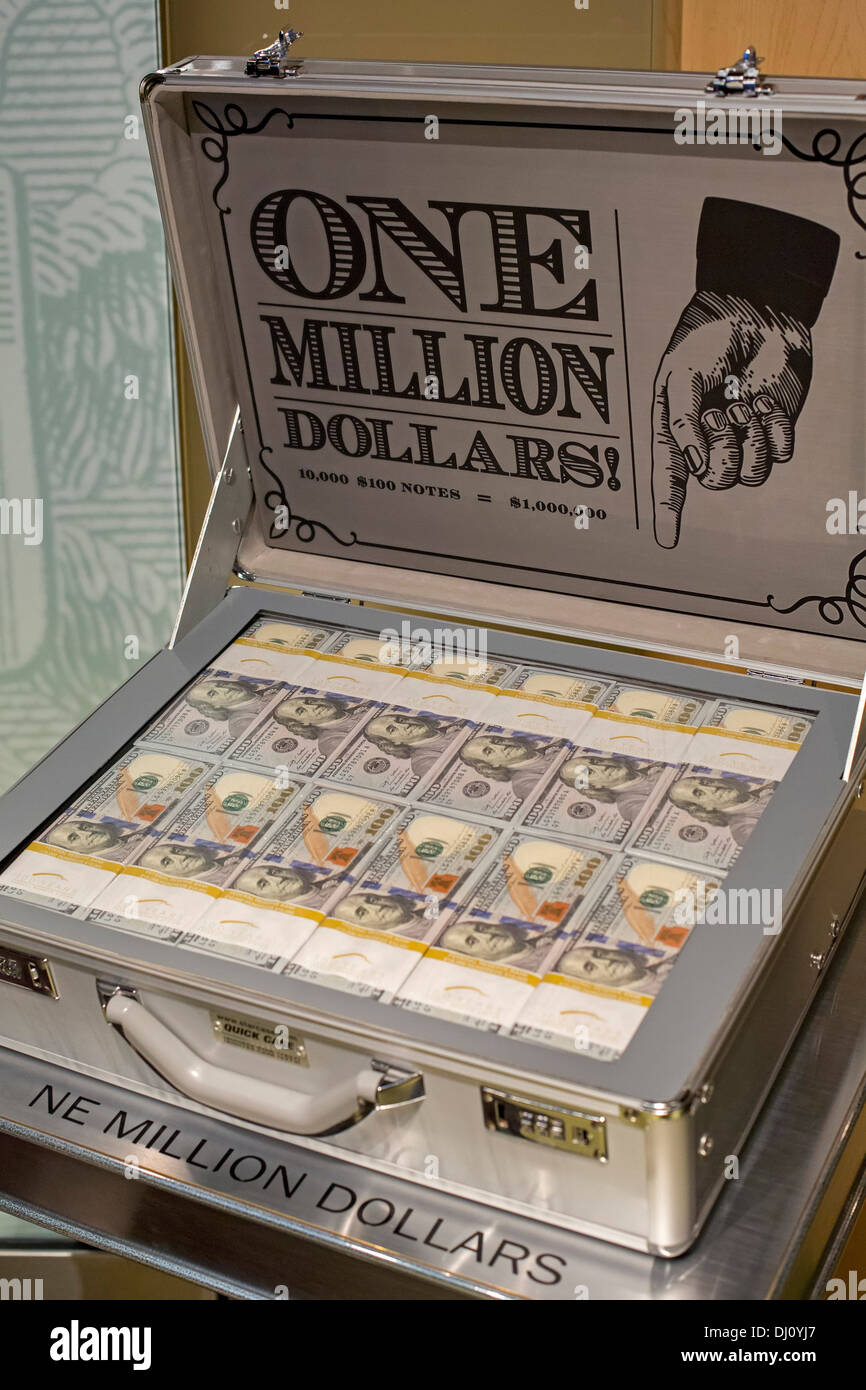 The Million Dollar Suitcase at the Federal Reserve Bank of Chicago's Money Museum Stock Photo
