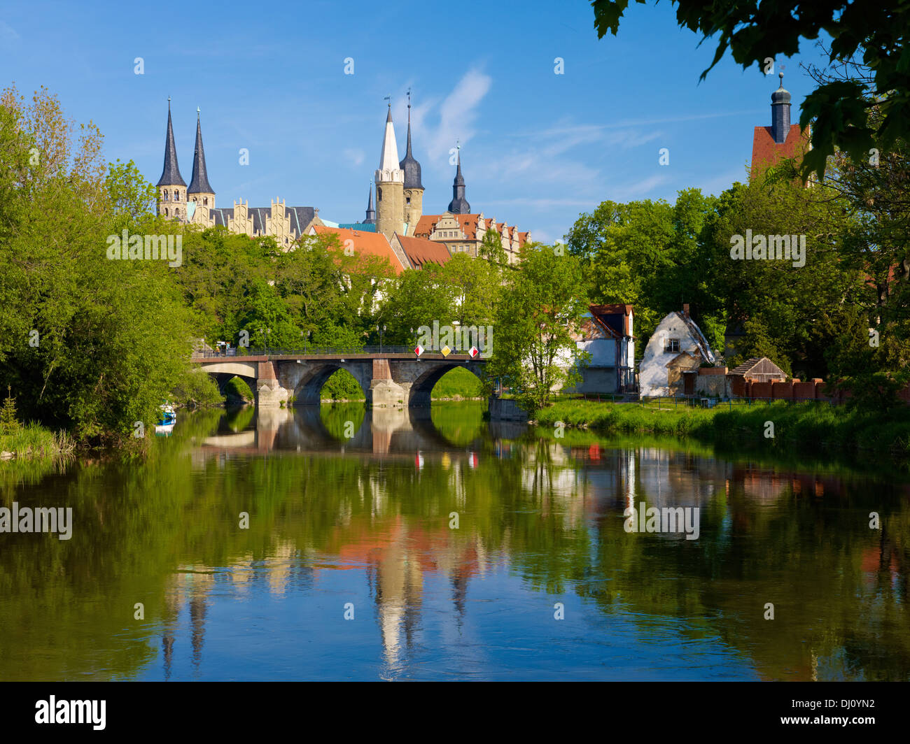 Merseburg Cathedral and Saale River, Merseburg, Saxony-Anhalt, Germany - Stock Image