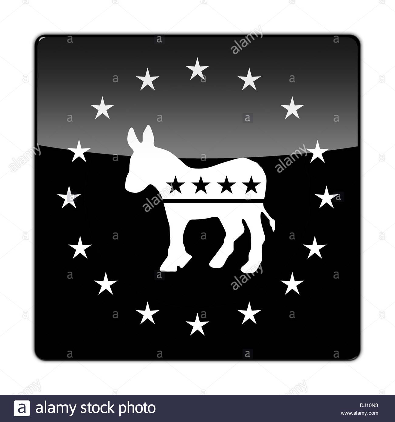 Democrats party icon logo election vote donkey - Stock Image