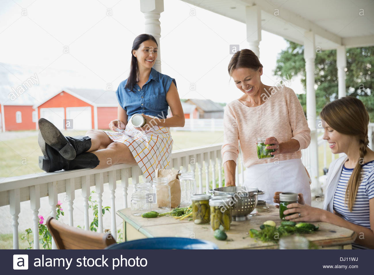 Female family members canning vegetables - Stock Image