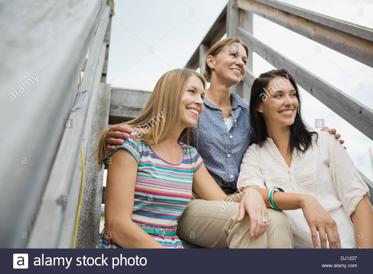 Low angle view of female family members sitting on steps Stock Photo