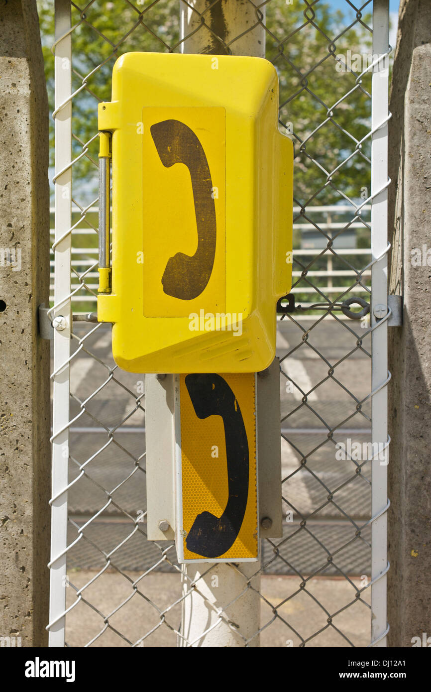 Railway Telephone Handset Box Stock Photos Wiring Yellow Against Wire Mesh Chainlink Type Fence Image