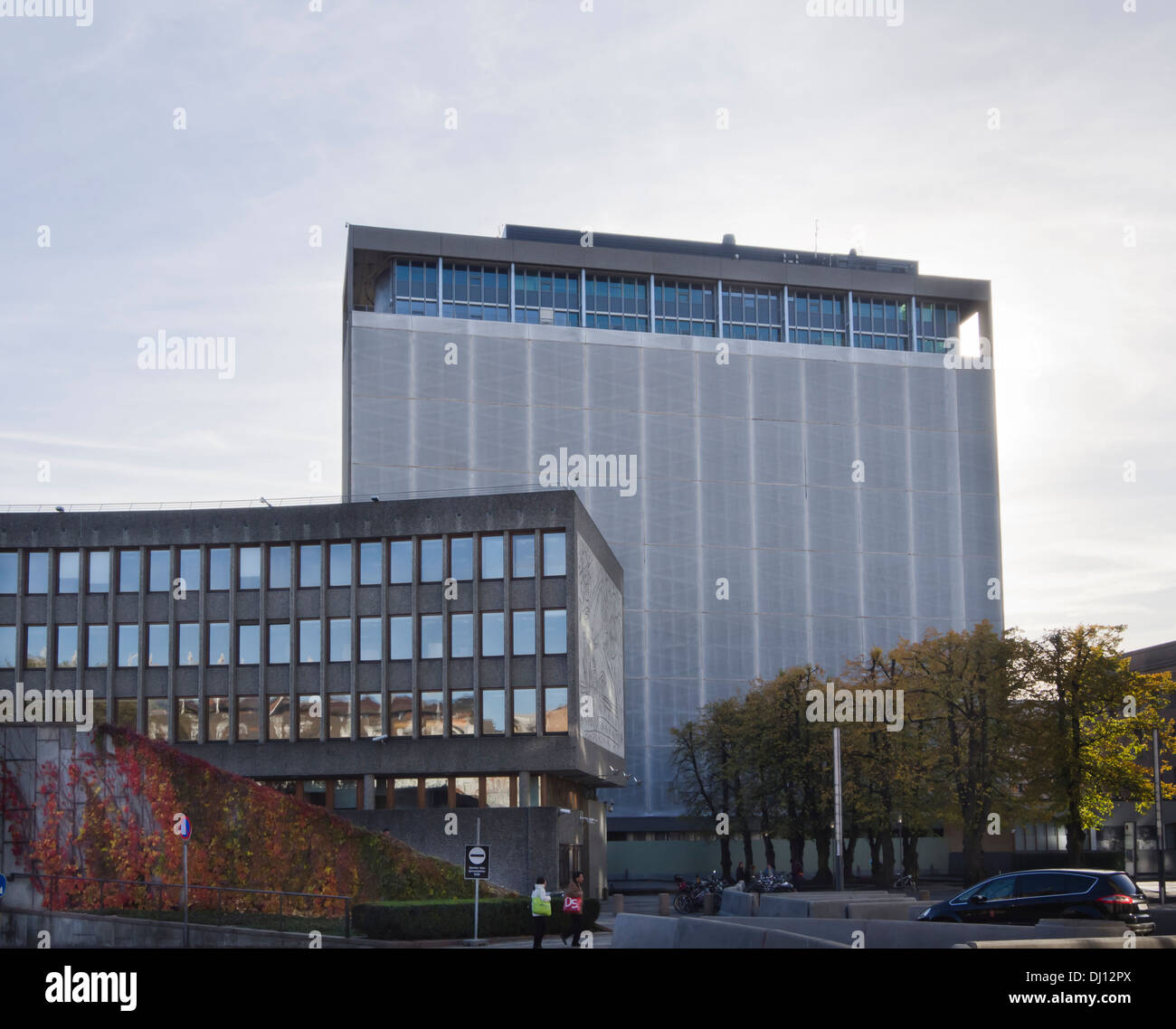 Deserted government buildings after the bomb attack in central Oslo Norway, demolition or conservation not decided, - Stock Image