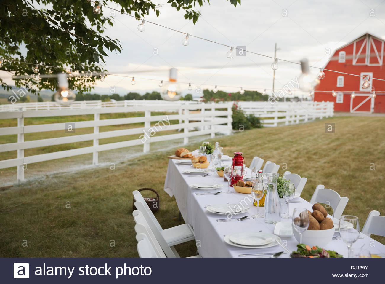 Empty dining table set up outdoors on farm - Stock Image