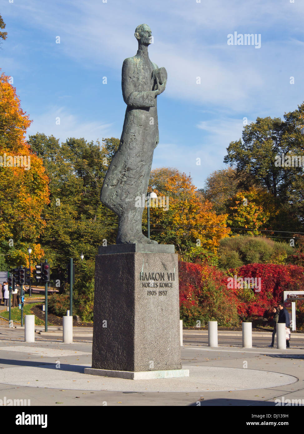 Statue of late Norwegian king Haakon VII by sculptor Nils Aas centrally placed in Oslo Norway Stock Photo