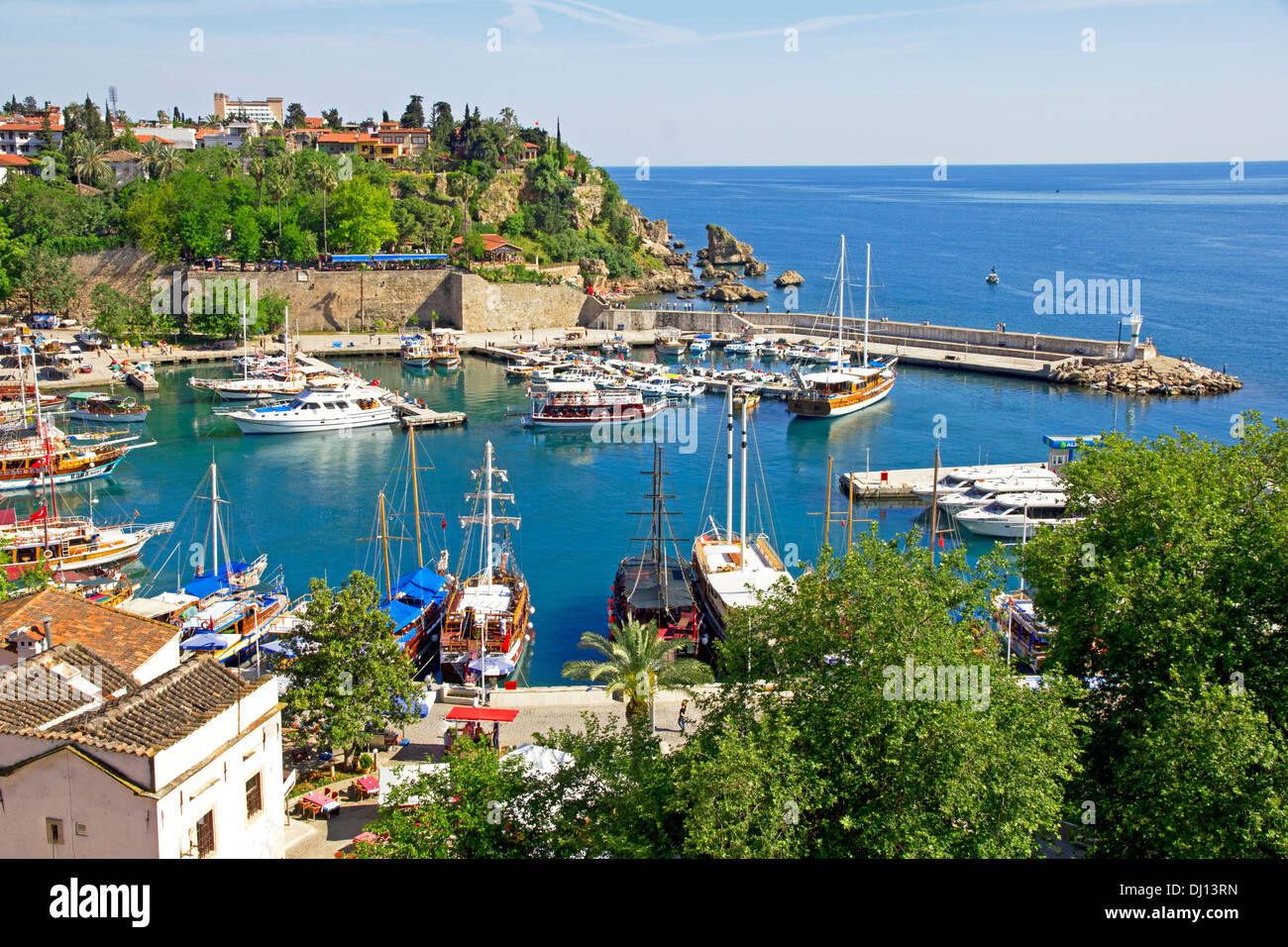 Turkey. Antalya town. Beautiful view of harbor with yachts - Stock Image