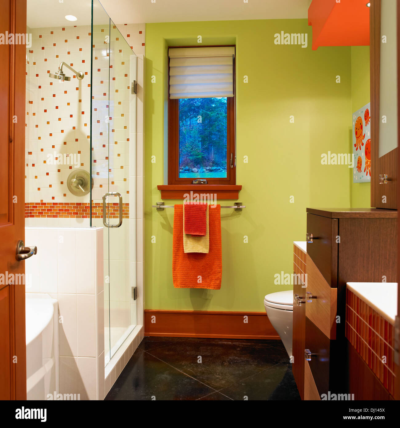 Bathroom With Lime Green Walls And Orange And White Tiles; Victoria ...