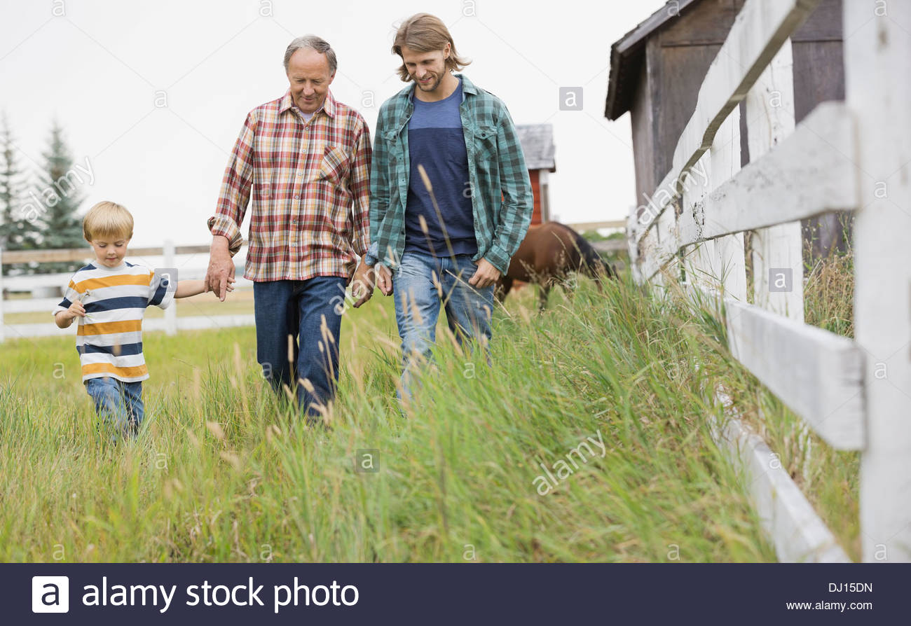 Three generation male family walking together on grassy field - Stock Image