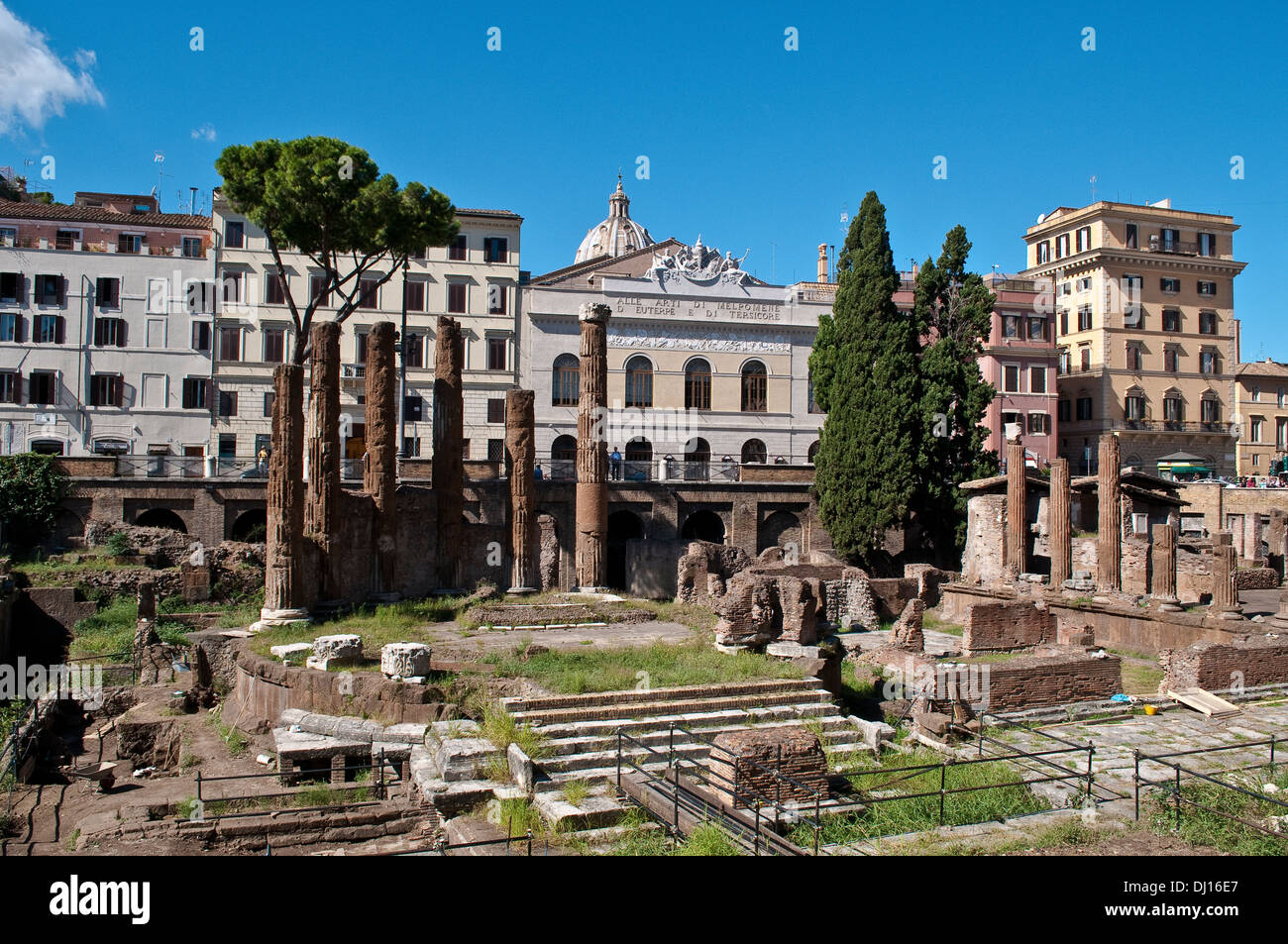 Remains of Republican Roman temples and Pompey's Theatre, and Teatro Argentina beyond, Largo di Torre Argentina, Rome, Italy - Stock Image