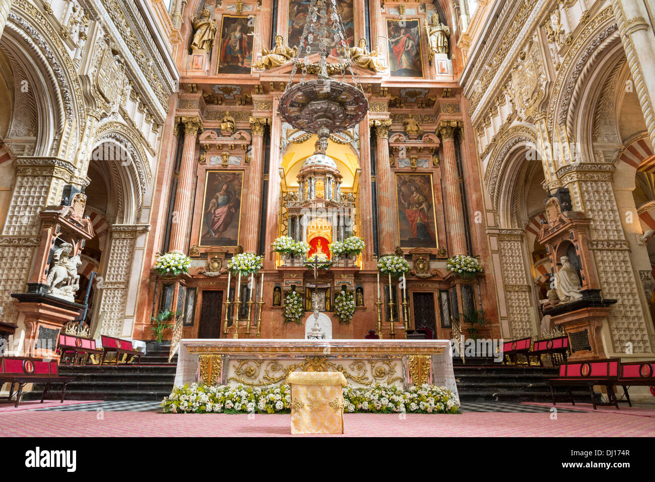 catholic altar inside the mosque cathedral of cordoba andalusia