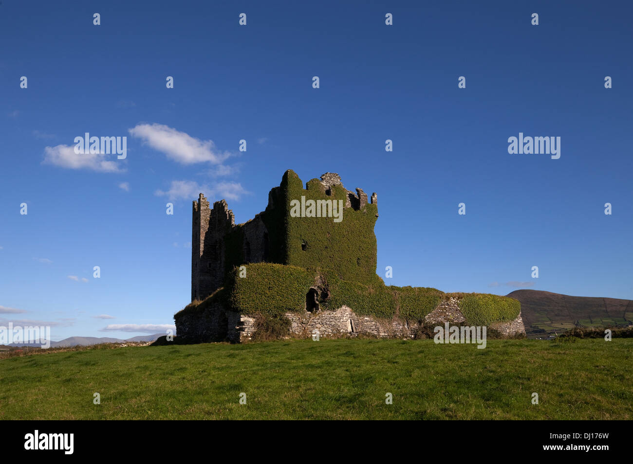 Ballycarberry Castle, built circa 16th Century, Near Caherciveen, Ring of Kerry, County Kerry, Ireland - Stock Image